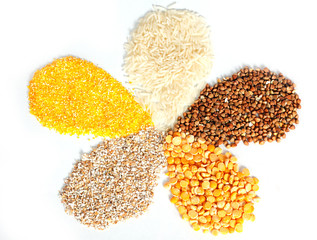 Sector of rices, buckwheat, barley grits, corn grits, peas