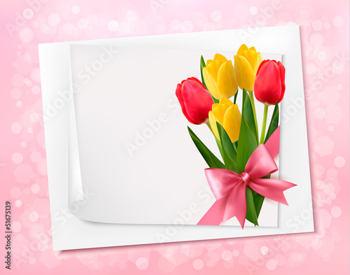 Holiday background with sheet of paper and colorful flowers. Vec