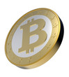 Bitcoin isolated on white. 3D photo rendering