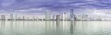 Miami skyline panorama  from Biscayne Bay, Florida
