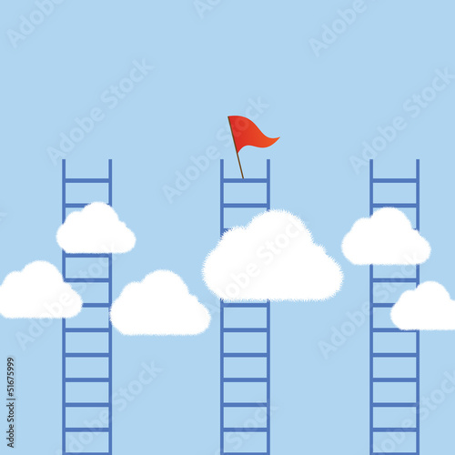 Concept business clouds with ladders