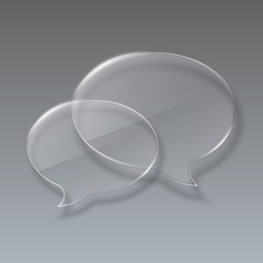 Two Glass bubbles speech on gray background.