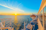 Sunset from ship at Mediterranean Sea during tour in Greece to G