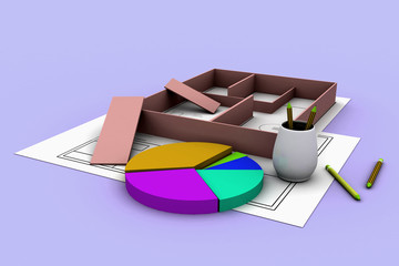 blueprints and pie chart