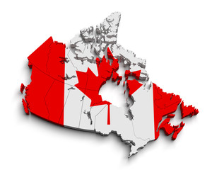 3d canada flag map on white