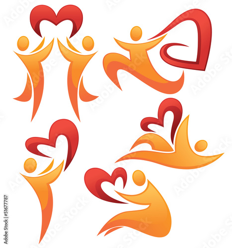 vector collection of abstract people and hearts in their hearts