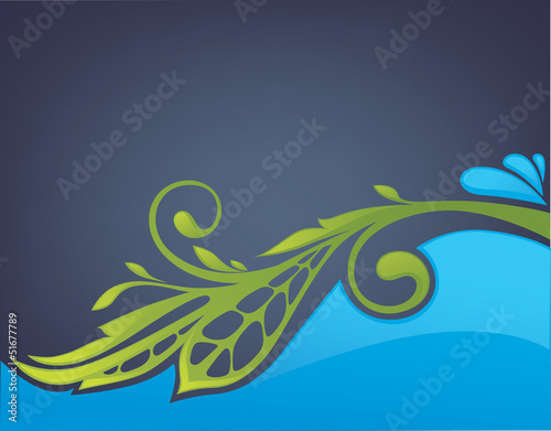 glossy and shine vector background wiht image of leaves and wate