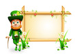 Leprechaun for st patrick day standing near sign and golden pot