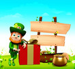 Leprechaun for st patrick day standing red gift