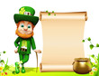 Leprechaun for st patrick day standing near sign and pot