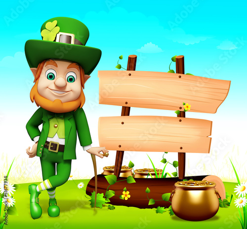 Leprechaun for st patrick day standing near sign