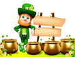 Leprechaun for st patrick day with wooden sign