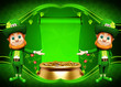 Leprechaun for st patrick's day with golden pot and green sign