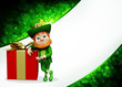Leprechaun for st patrick's day with big gift box