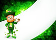 Leprechaun for st patrick's day with golden smoking pipe