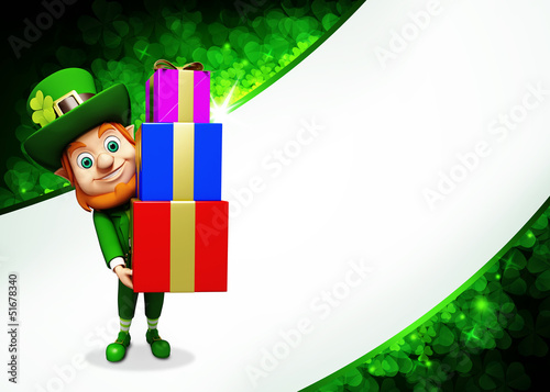 Leprechaun for st patrick's day carring pile of gifts