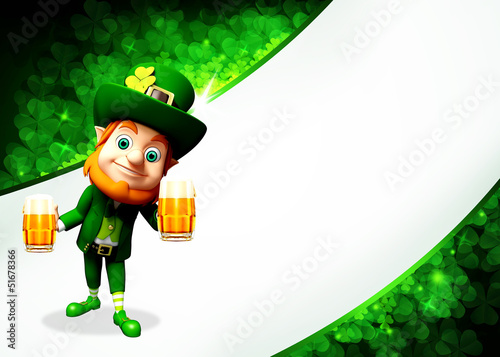 Leprechaun for st patrick's day with beer glasses