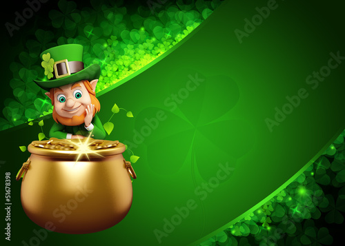 Leprechaun for st patrick's day with big pot