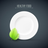 plate with healthy food text
