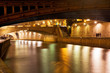 bridge and Seine river at night, Paris