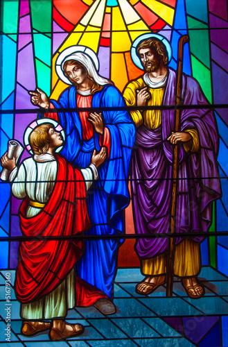 Naklejka Stained Glass in a Catholic Church