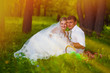sunlight beautiful couple at wedding newlyweds a picnic in a for