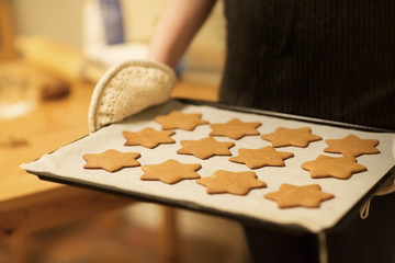 Baking Homemade Gingerbread Stars