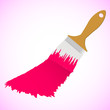 Pink colour paint brush on pink smooth background