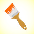 Orange paint brush on yellow smooth background