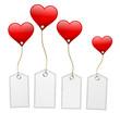 Weiße Schilder mit Herzen