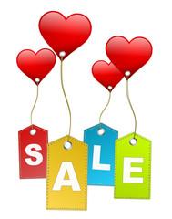 Schilder Sale mit Herzen
