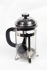 teapot a kettle glass tea shiny metal isolated