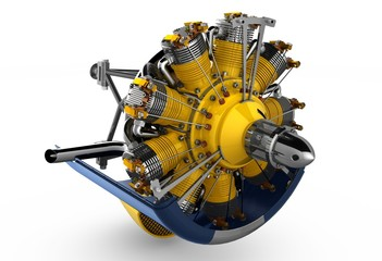 Radial engine aircraft realistic picture on white background