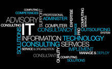 "Постер, картина, фотообои ""Information technology consulting IT computer tag cloud"""