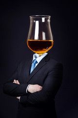 Man with Cognac Glass as Head