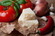 Italian food: vegetables and Italian hard cheese