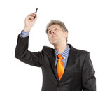 Businessman holding pencil