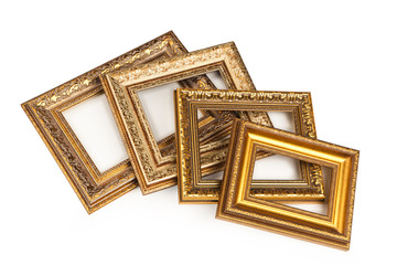 Collection of vintage frame, isolated on white.