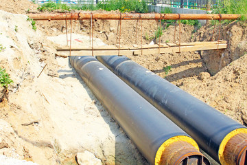 Tubes of pipeline in the ground
