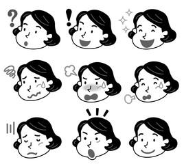 中年 女性 表情 いろいろ モノクロ