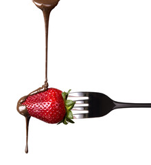 strawberries and chocolate with fork