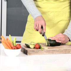 cutting vegetables at home