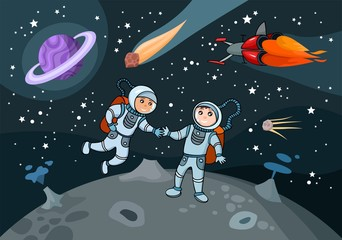 vector illustration of 2 cosmonauts