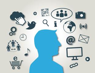 Social Media, New Media, Virales Marketing, blau