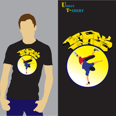 T-shirt with breakdance illsutration