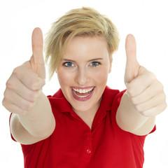 Happy successful woman shows thumb up on white background