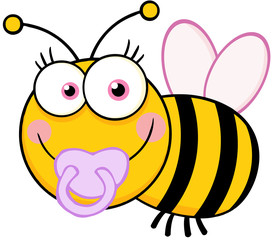 Baby Girl Bee Cartoon Mascot Character