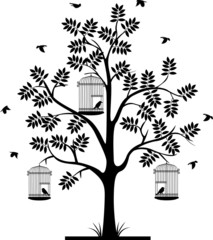 tree silhouette and  flying bird's  in the cage