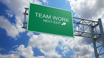 Teamwork - 3D Highway Exit Sign