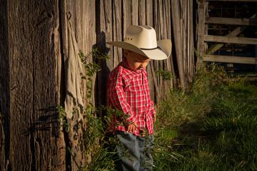 Little Farmer Next to Barn